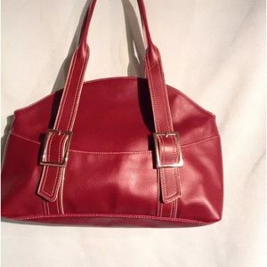 D K PLUM SHOULDER SATCHEL HANDBAG